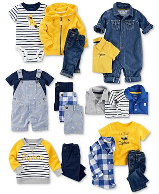 Carter's Stripes & Denim Jumpsuit, Bodysuits & Clothing Sets Collection, Baby Boys