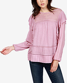 Lucky Brand Embroidered Ruffled Top