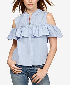 Lucky Brand Cotton Cold-Shoulder Ruffled Shirt