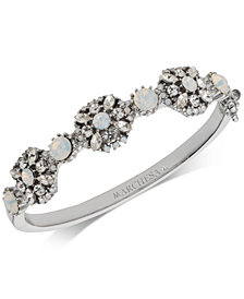 Marchesa Silver-Tone Crystal Cluster Bangle Bracelet