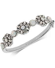 Marchesa Silver-Tone Crystal Cluster Bangle Bracelet