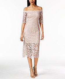 Xscape Off-The-Shoulder Lace Illusion Dress