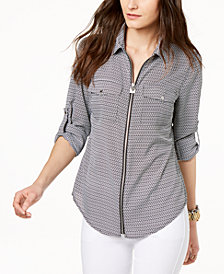 MICHAEL Michael Kors Hardware-Detail Utility Shirt, in Regular and Petite Sizes