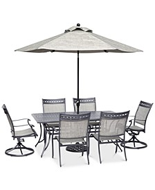 "Vintage II Outdoor Cast Aluminum 7-Pc. Dining Set (72"" x 38"" Table, 4 Sling Dining Chairs & 2 Sling Swivel Chairs), Created for Macy's"