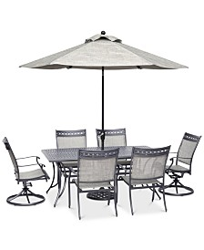 "Vintage II Outdoor Aluminum 7-Pc. Dining Set (72"" x 38"" Dining Table, 4 Dining Chairs & 2 Swivel Rockers), Created for Macy's"