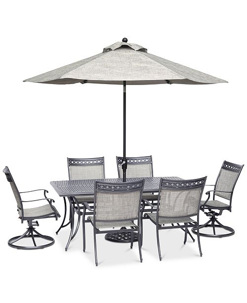 Vintage II Outdoor Aluminum 7-Pc. Dining Set (72 x 38 Dining Table, 4  Dining Chairs & 2 Swivel Rockers), Created for Macy\'s