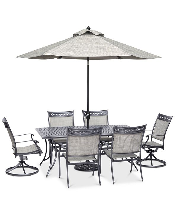 "Furniture Vintage II Outdoor Cast Aluminum 7-Pc. Dining Set (72"" x 38"" Table, 4 Sling Dining Chairs & 2 Sling Swivel Chairs), Created for Macy's"