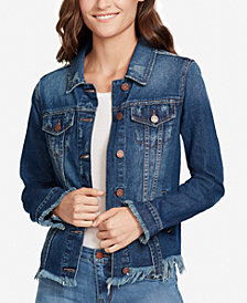 WILLIAM RAST Frayed Denim Trucker Jacket