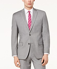 Men's Classic-Fit Airsoft Stretch Grey Solid Suit Jacket