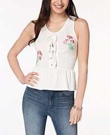 XOXO Juniors' Lace-Up Peplum Top
