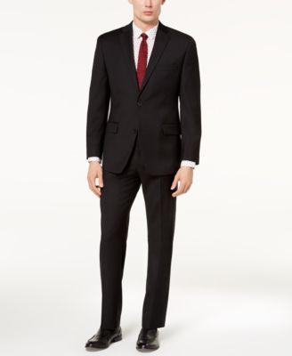 Men's Classic-Fit Airsoft Stretch Black Solid Suit Jacket