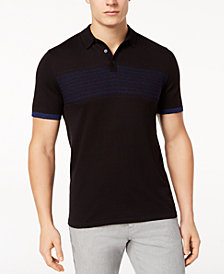 Alfani Men's Stripe Knit Polo, Created for Macy's
