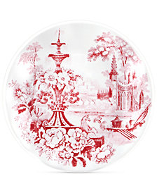 Q Squared Cambridge Rose in Crimson Bread & Butter Plates, Set of 4
