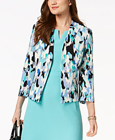 Kasper Printed 3/4-Sleeve Blazer, Regular & Petite