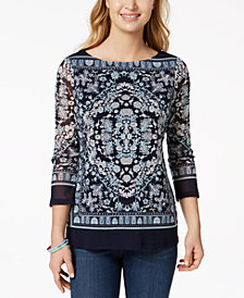 Charter Club Printed Boat-Neck Mesh Top, Created for Macy's