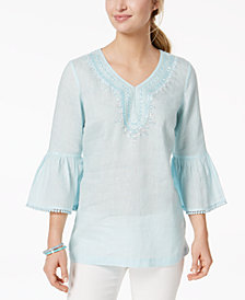 Charter Club Linen Embellished Caftan Top, Created for Macy's