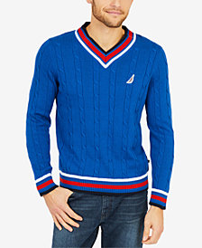 Nautica Men's Varsity Cable-Knit Sweater