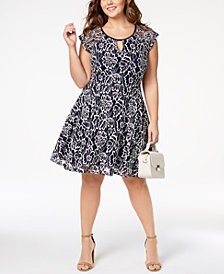 City Studios Trendy Plus Size Illusion-Sleeve Lace Dress
