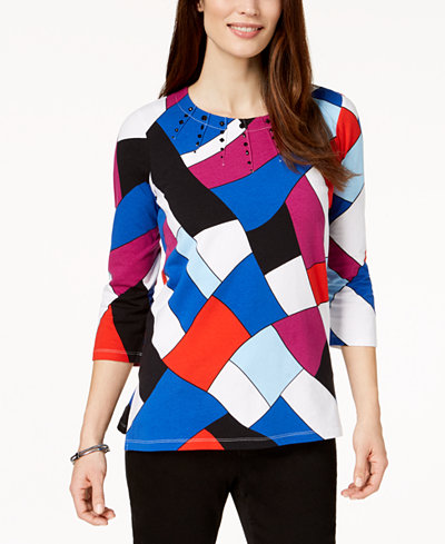 Alfred Dunner Upper East Side Embellished Stain-Glass-Print Top