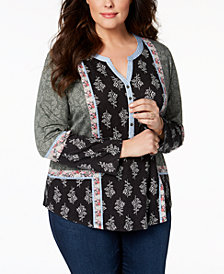 Style & Co Plus Size Patchwork-Print Peasant Top, Created for Macy's