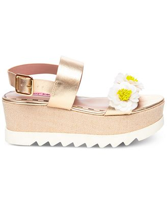 Betsey Johnson Pipper Flower Detail Platform Sandals
