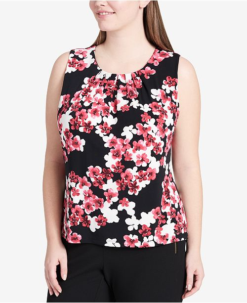 08fb1c30a87e3 Calvin Klein. Plus Size Printed Pleated-Neck Shell. 4 reviews. main image   main image ...
