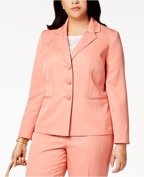 c79b939521589 Le Suit Plus Size Striped Three-Button Pantsuit   Reviews - Wear to ...