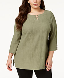 JM Collection Plus Size Crisscross-Strap Tunic, Created for Macy's