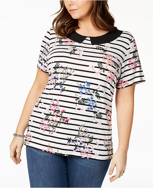 172201a36a7 ... Tommy Hilfiger Plus Size Inset-Collar Top