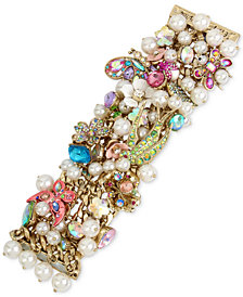 Betsey Johnson Gold-Tone Stone, Crystal & Imitation Pearl Floral Statement Bracelet