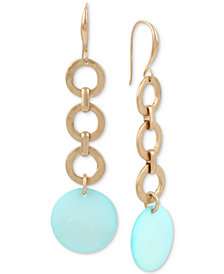 Robert Lee Morris Soho Gold-Tone Link & Imitation Mother-of-Pearl Linear Drop Earrings