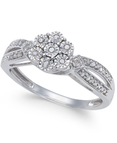 Diamond Miracle Plate Cluster Ring (1/10 ct. t.w.) in Sterling Silver