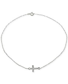Giani Bernini Cubic Zirconia Cross Ankle Bracelet in Sterling Silver, Created for Macy's