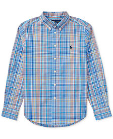 Polo Ralph Lauren Plaid Cotton Shirt, Big Boys