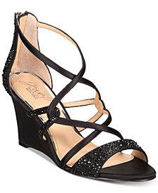 Jewel Badgley Mischka Ally Strappy Evening Wedge Sandals