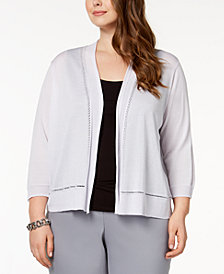 Anne Klein Plus Size 3/4-Sleeve Cardigan