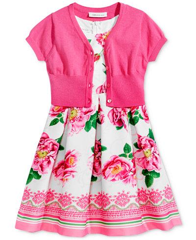Bonnie Jean 2-Pc. Cardigan & Floral-Print Dress Set, Little Girls