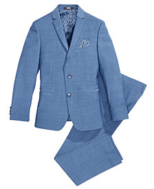 DKNY Solid Blue Suit Jacket & Pants Separates, Big Boys