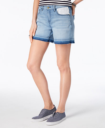 Tommy Hilfiger Eyelet-Contrast Denim Shorts, Created for Macy's