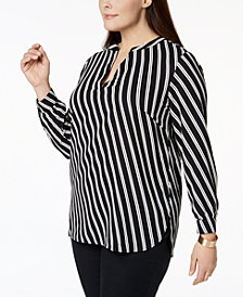 Anne Klein Plus Size Striped V-Neck Blouse