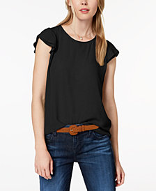 Maison Jules Tiered Flutter-Sleeve Top, Created for Macy's
