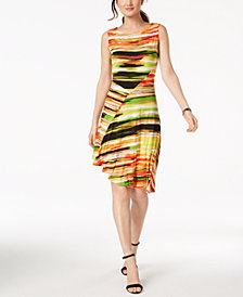 Ellen Tracy Petite Printed Asymmetrical Dress
