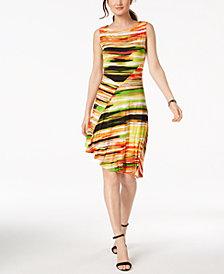 Ellen Tracy Petite Printed Asymmetrical Dress
