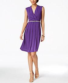 Ellen Tracy Petite Belted A-Line Dress