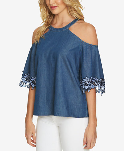 CeCe Cotton Embroidered Cold-Shoulder Top