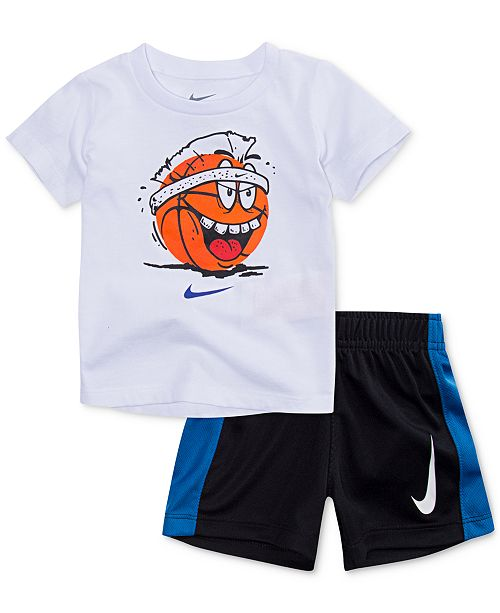 477364a4d3 Nike 2-Pc. Basketball Graphic-Print T-Shirt & Shorts Set, Toddler Boys ...