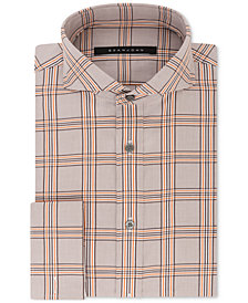 Sean John Men's Classic/Regular Fit Brown and Orange Check French Cuff Dress Shirt