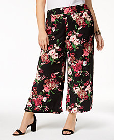 I.N.C. Plus Size Printed Cropped Wide-Leg Pants, Created for Macy's