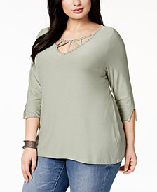 Belldini Plus Size V-Neck Strap Top