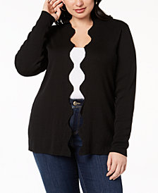 Belldini Plus Size Scalloped Cardigan